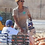 Halle Berry has her hands full at the pumpkin patch.