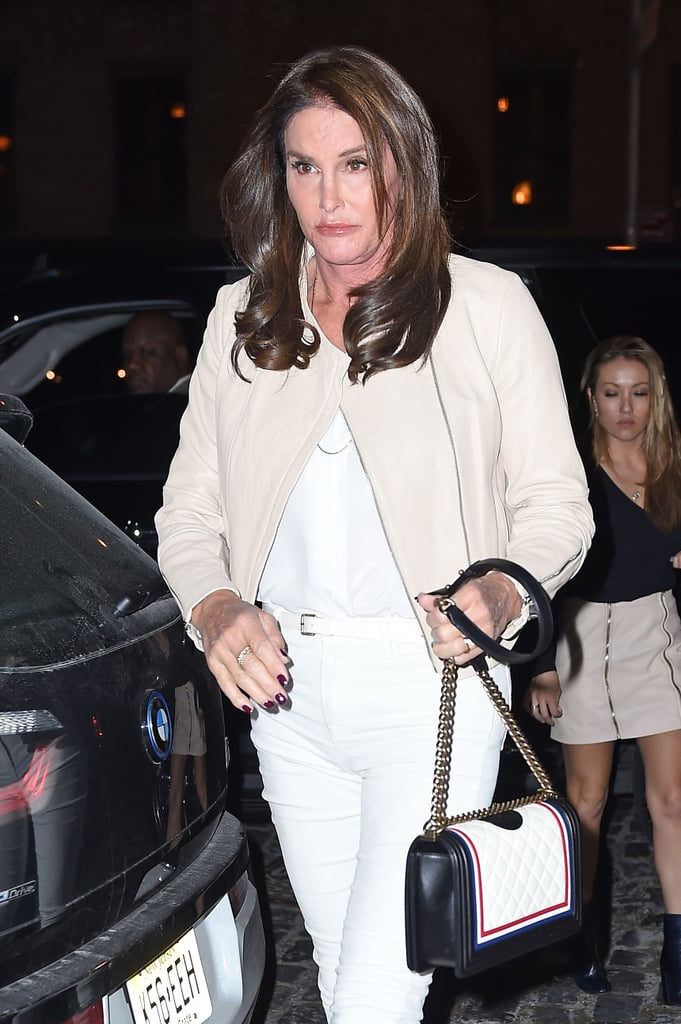 Caitlyn accessorized her look with a diamond ring, thin white belt, dainty necklaces, and, of course, her Chanel bag.