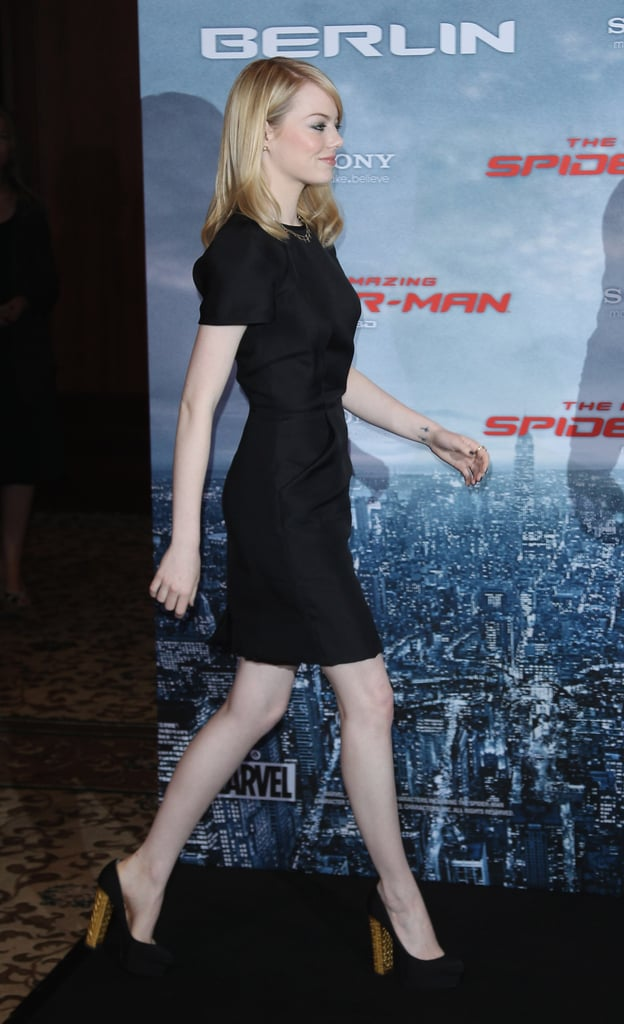 Emma Stone graced the stage at the Berlin photocall for The Amazing Spider-Man.