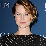 Evan Rachel Wood wore her short cut in an asymmetrical style that framed her face, while pink cheeks and lips accented her alabaster complexion.
