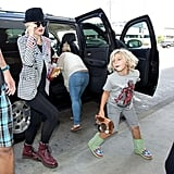 Gwen Stefani got out of a car at LAX with Kingston.
