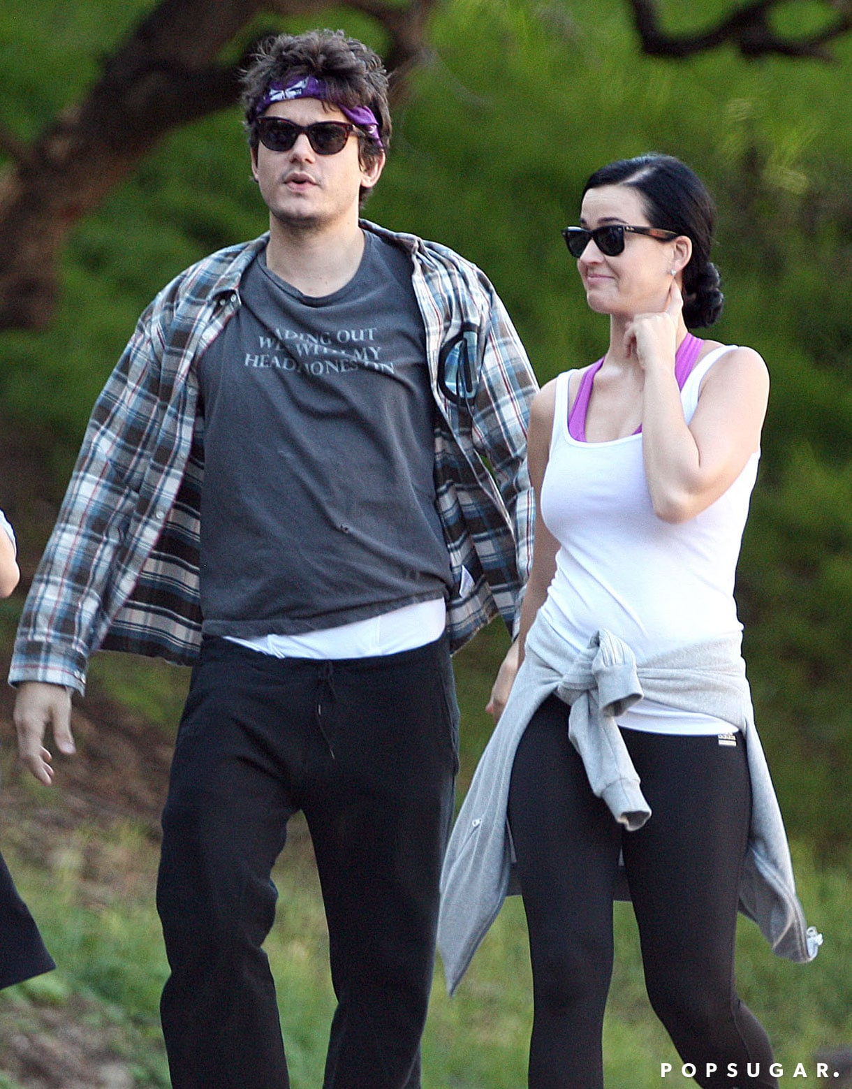 Katy Perry and John Mayer wore workout gear.