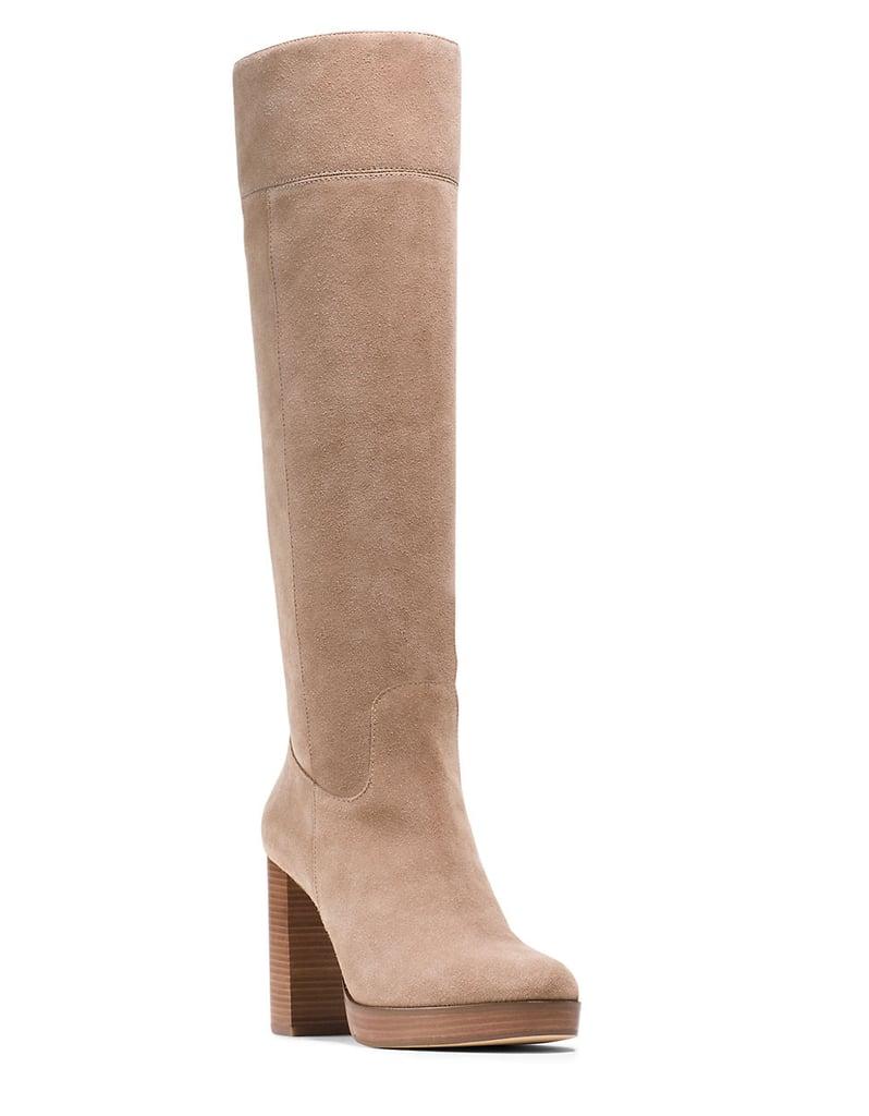 MICHAEL Michael Kors Regina Suede Platform Knee-High Boots ($295)