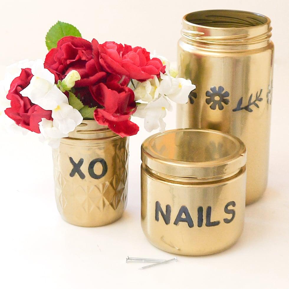 Gold Spray-Painted Glass Jar | DIY Bridesmaid Gifts ...