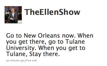 Tweet Nothings: Ellen DeGeneres Loves New Orleans!