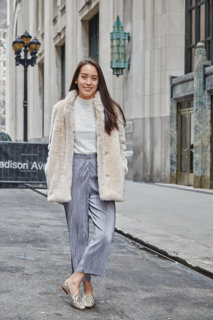 On Assistant Editor Marina Liao: Topshop pants and Jeffrey Campbell loafers