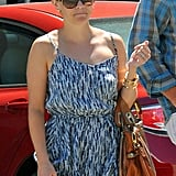 Reese Witherspoon leaves Sugarfish Restaurant in LA.