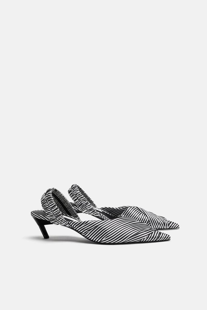 Our Pick: Zara Striped Fabric Heel Slingback Shoes