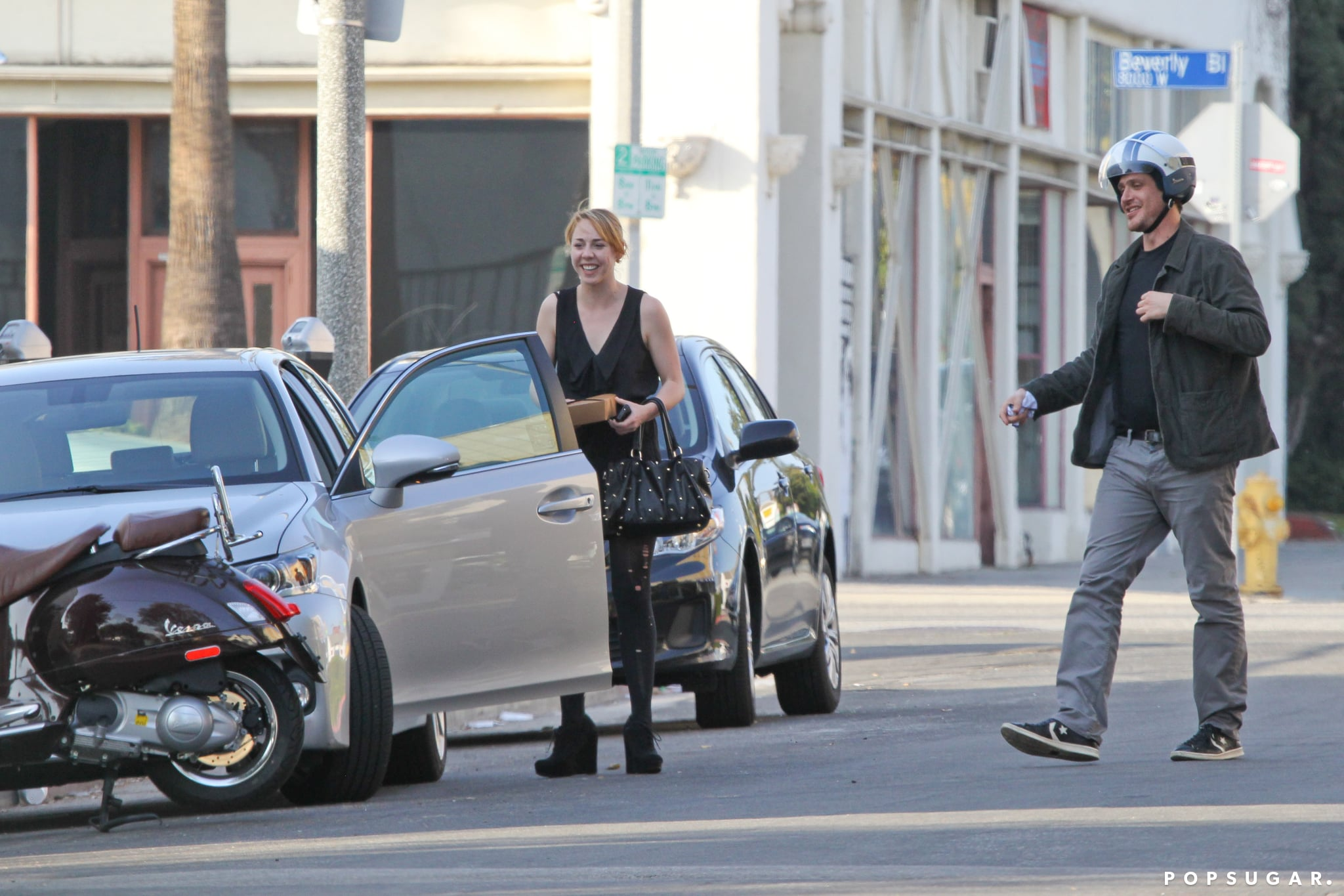 Jason Segel and his friend left the restaurant in LA together.
