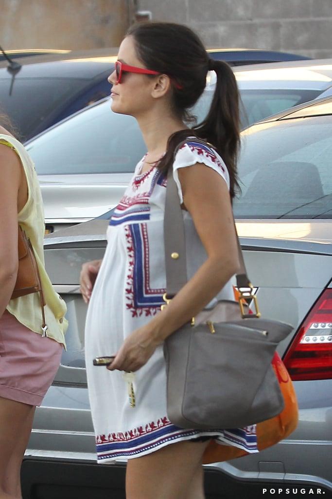 Rachel Bilson showed off her growing baby bump in LA on Thursday.