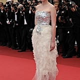 Talk about going out on a high note — Kirsten glowed in this frothy Chanel Couture gown on closing night of the Cannes Film Festival in May 2011.