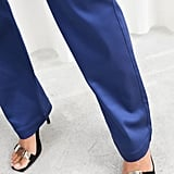 & Other Stories High Waisted Satin Pants in Blue