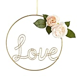"""14"""" Love Wire Wreath With Faux Roses"""