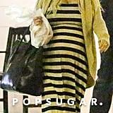 Jessica Simpson wore a striped maxi dress.