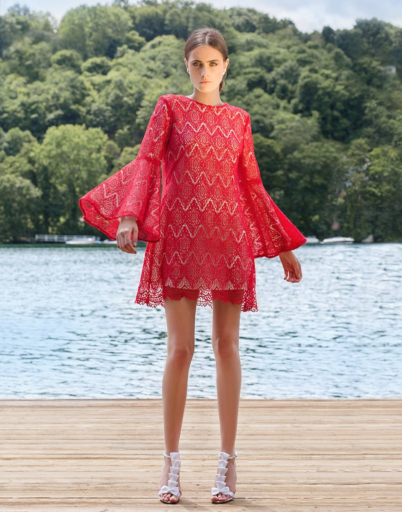 Try something breezy with flutter sleeves, like Mestiza New York's Libby Ruffle Dress in Geometric Lace ($475)