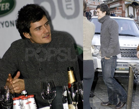 Photos of Orlando Bloom Promoting Land Rover in Moscow, Russia