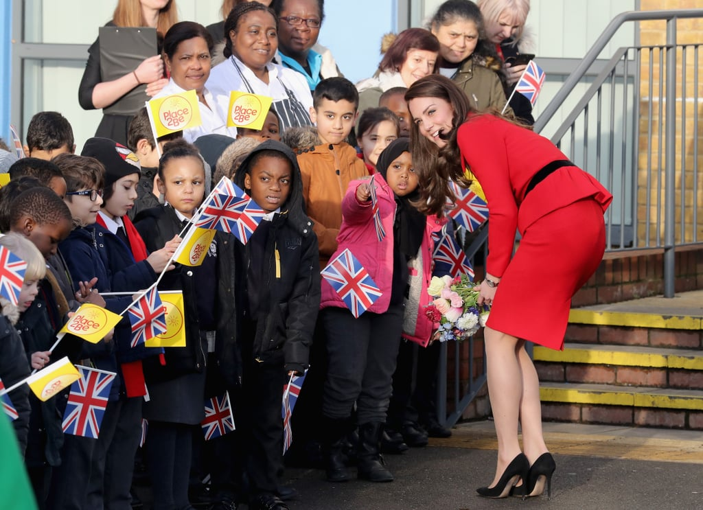 Kate was given a warm welcome at London's Mitchell Brook primary school in February 2017.
