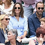 Pippa Middleton Blue Dress and Espadrilles at Wimbledon 2018