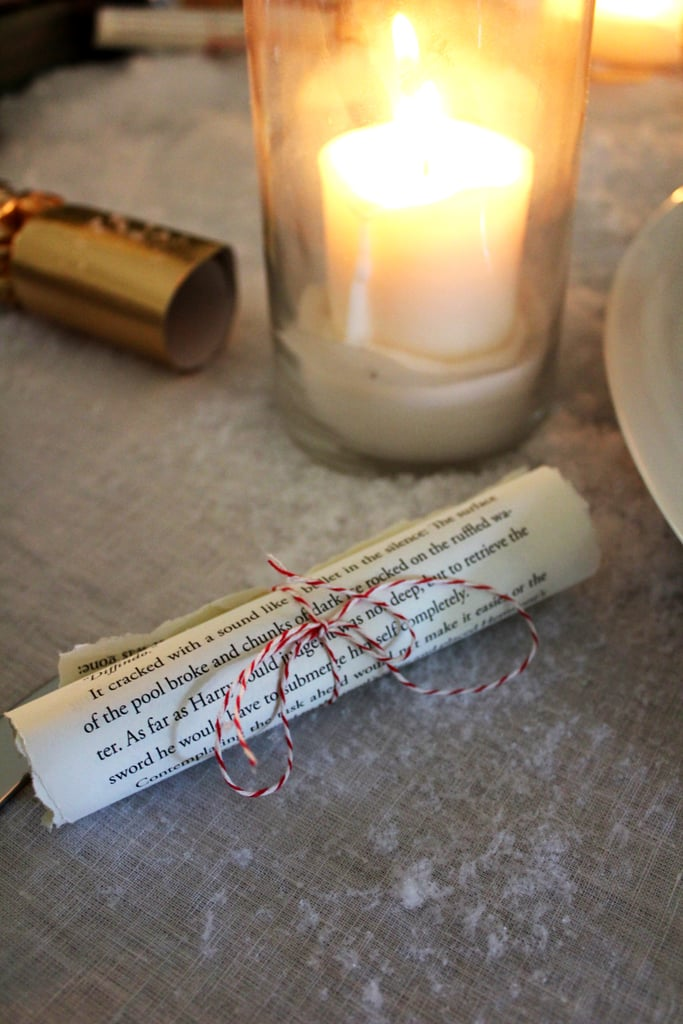 Place scrolls on the table as decor, too.