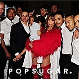 Jennifer Lopez and Casper Smart posed with her backup dancers.