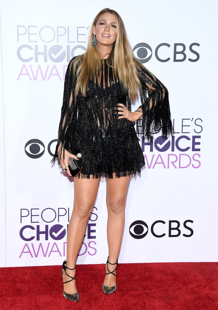 Wearing an Elie Saab dress, Christian Louboutin shoes, Lorraine Schwartz jewels, and carrying a Vivier handbag to the 2017 People's Choice Awards.