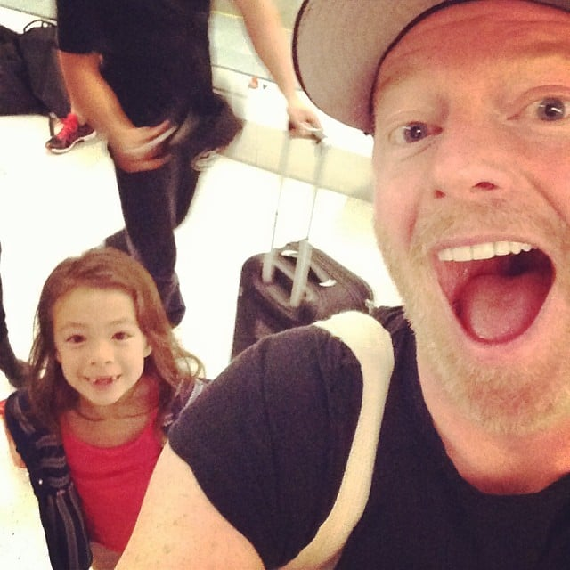"""Jesse Tyler Ferguson took this selfie at the airport and said, """"Boarding our plane to Australia! It's this little girls first time out of the country! (Aubrey's...not mine)."""" Source: Instagram user jessetyler"""