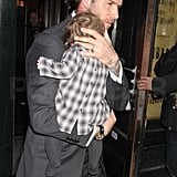 David Beckham left Balthazar in NYC with Harper Beckham.