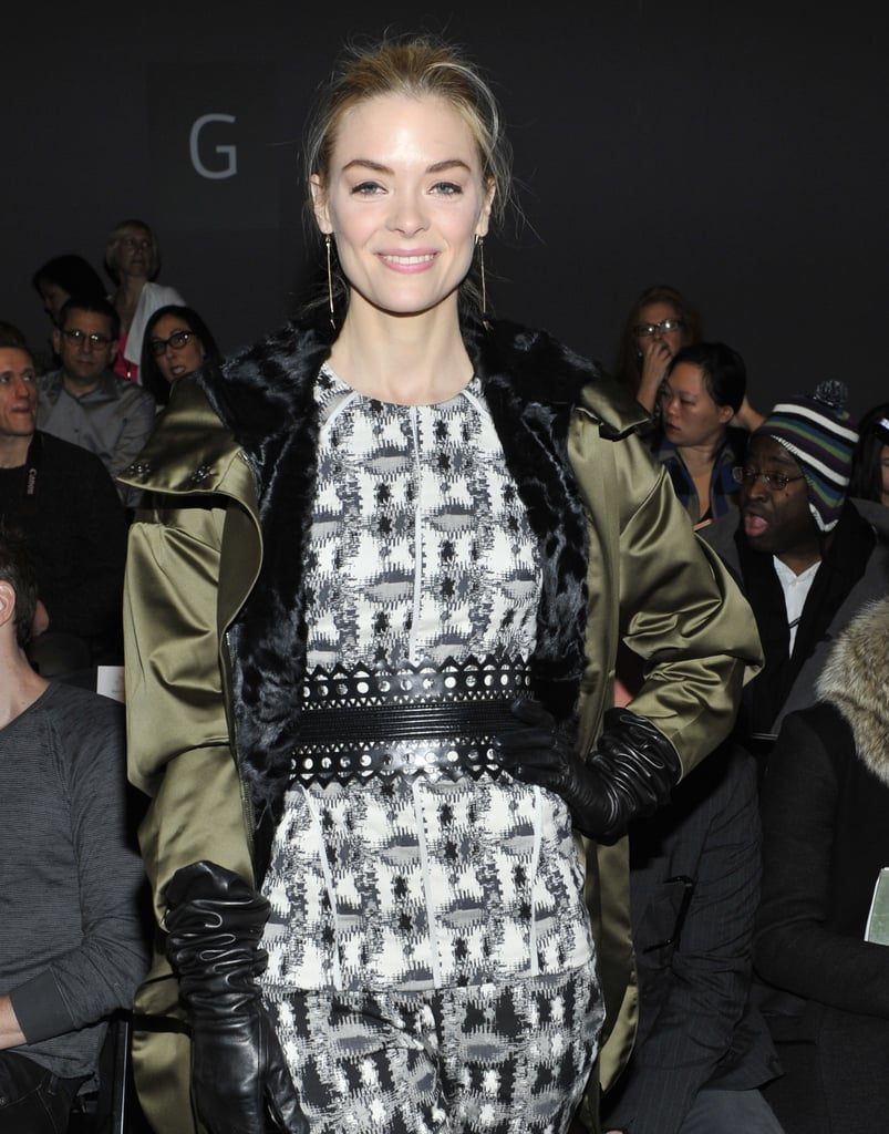 Jaime King accessorized her army green Schumacher parka and printed ensemble with these Iwona Ludyga tribe long leaf earrings ($112) at Lela Rose's Fall 2013 show at New York Fashion Week.