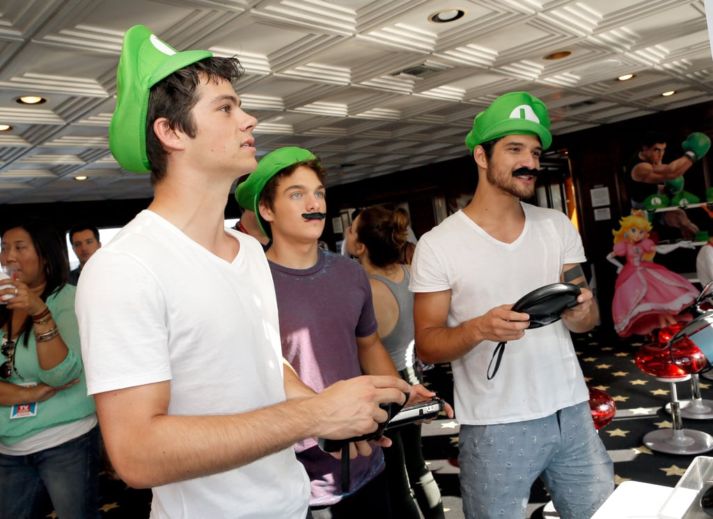 Teen Wolf's Dylan O'Brien, Dylan Sprayberry, and Tyler Posey donned Luigi hats and mustaches on Thursday.