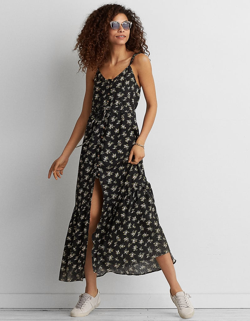 5206f60f3f9 American Eagle Outfitters Ruffle Tie-Back Maxi