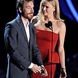Michael Fassbender and Charlize Theron joked around on stage.