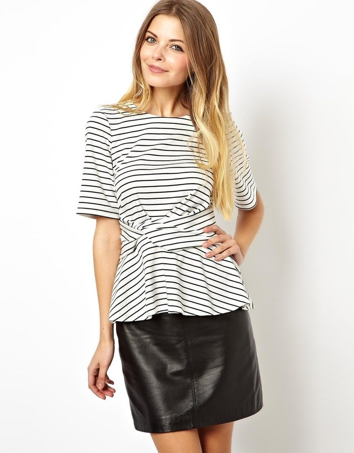 ASOS Striped Peplum Top