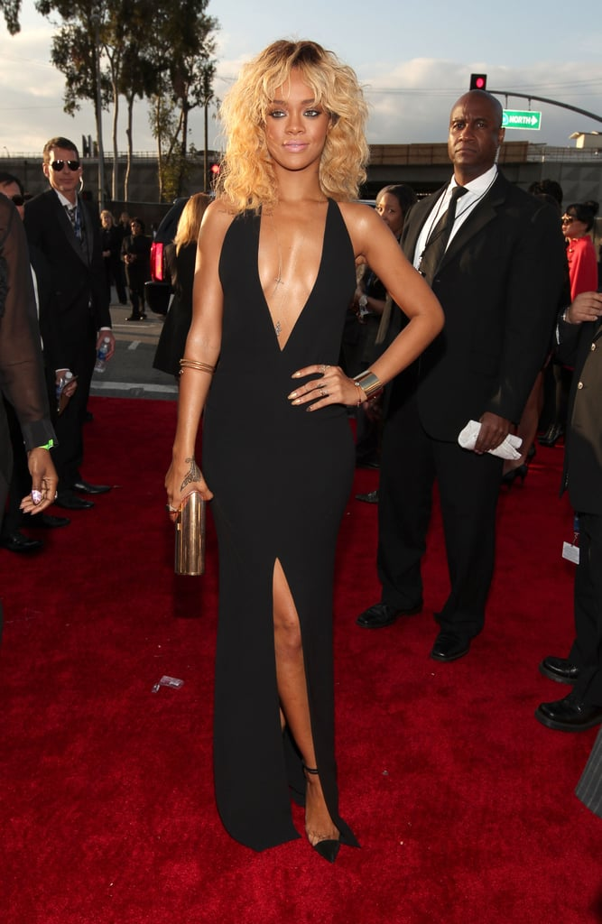 Rihanna black dress red carpet
