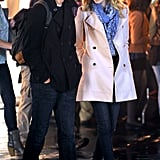 Emma gave Andrew a loving look while filming for The Amazing Spider-Man 2 in NYC in April 2013.