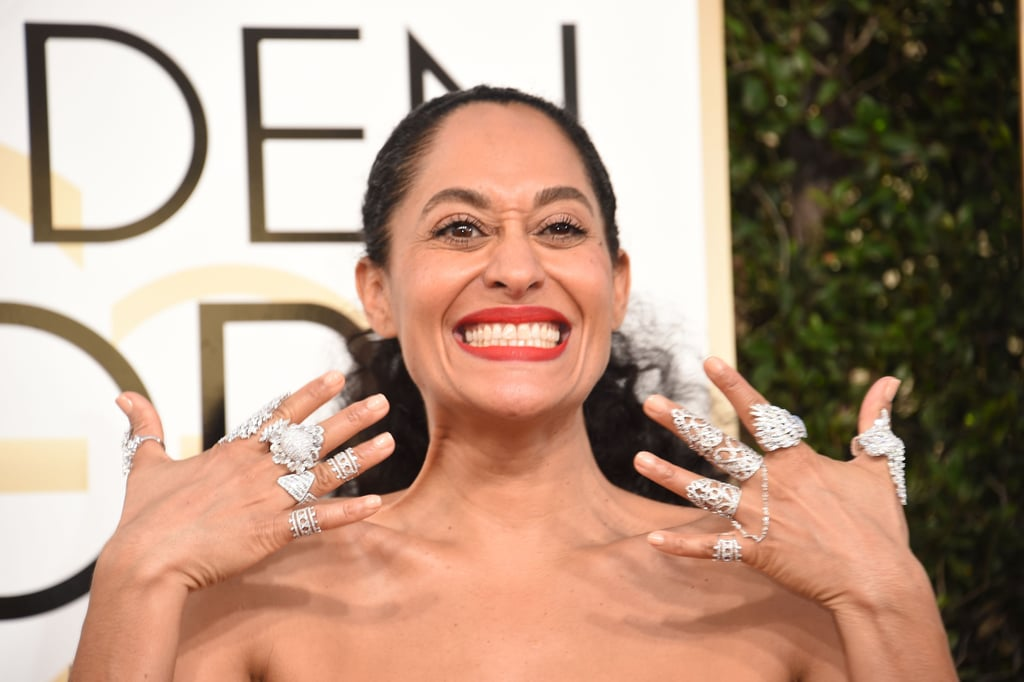 If there's one person you shouldn't miss on the red carpet at the 2017 Golden Globe awards, it's Tracee Ellis Ross. The star showed up in a beaded, sheer Zuhair Murad dress, but that wasn't what really caught our attention. Glance down at her hands and you'll notice she went all out on the accessories — wearing big, bold silver rings on each of her fingers. We counted a total of 12 rings (a selection from Yeprem Jewellery, Hueb, LDezen, and Noudar Jewels) and doubt anyone will match Tracee's statement look of the night. Judging from the photos below, it seems Tracee was most definitely a fan of the look too, posing dramatically for the cameras with her rings in focus. Scroll on to see Tracee's rings from all angles, you can't miss them.       Related:                                                                                                           All the BTS Golden Globes Glamour You Need to See