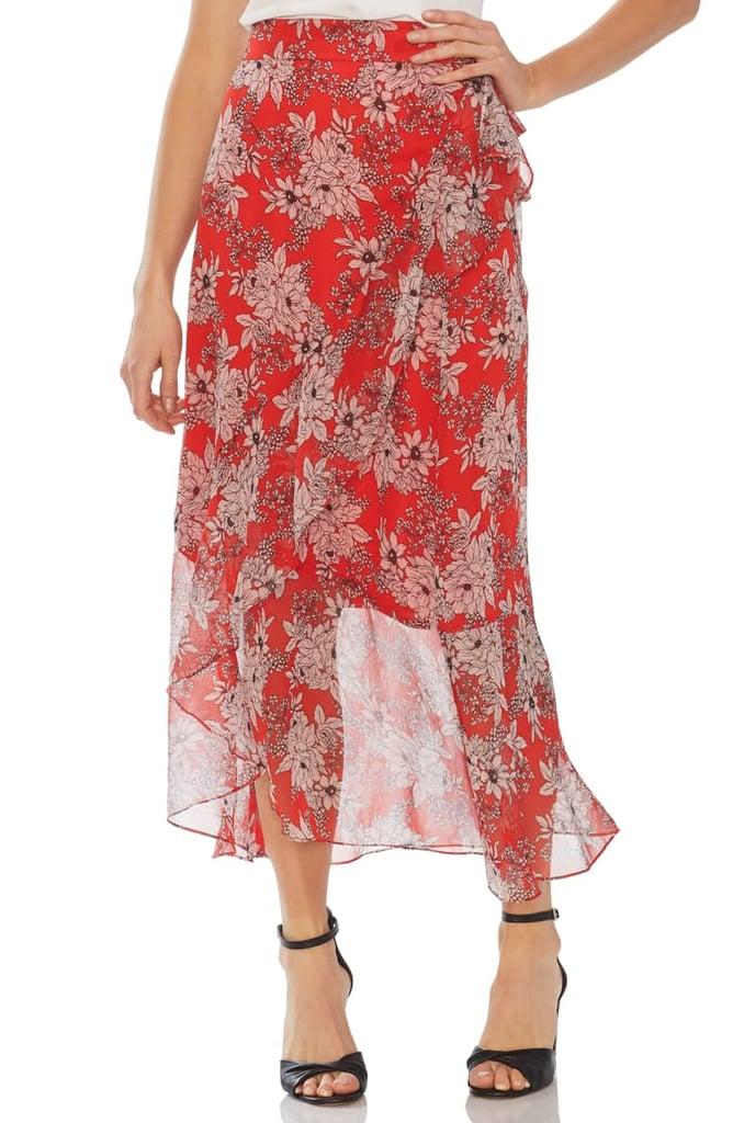 Vince Camuto Floral Print Faux-Wrap Skirt