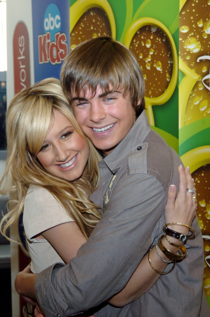 Longtime friends and High School Musical costars Zac Efron and Ashley Tisdale shared a sweet hug at a Disney event in February 2006.