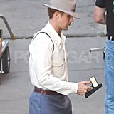 Ryan Gosling headed to the LA set of The Gangster Squad.