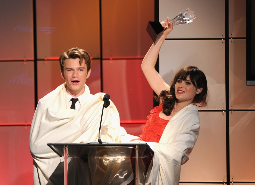 Zooey Deschanel joked on stage with Chris Colfer at the Critics' Choice Television Awards in LA.