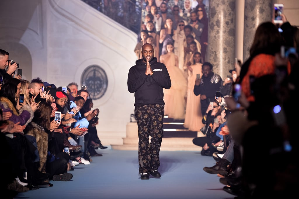 Virgil Abloh walks the runway during his Fall 2018 Off-White show.