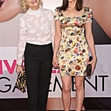 Parks and Recreation costars Amy Poehler and Aubrey Plaza showed their support last night in different floral iterations. Amy chose a white, high-neck top with black trousers while Aubrey wore a multicolored floral minidress and peep-toe pumps.