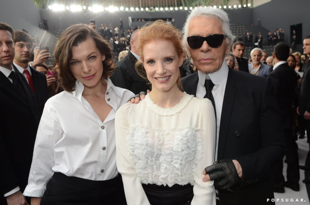 Milla Jovovich, Jessica Chastain, and Karl Lagerfeld joined up at the Chanel fashion show in Paris in March.
