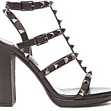 Valentino Noir Rockstud Leather Gladiator Heels