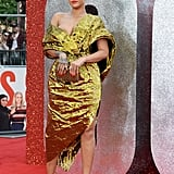 Rihanna Wore a Sexy Gold Dress by Pioret