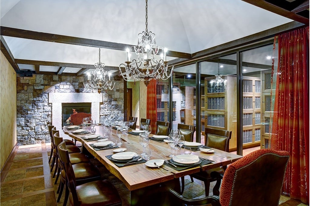 The wine cave dining room has climate-controlled wine storage. & The wine cave dining room has climate-controlled wine storage ...