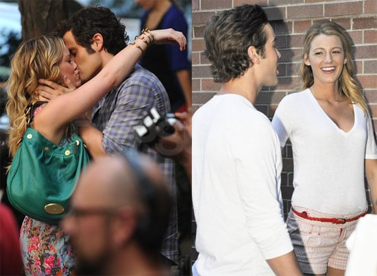 Photos of Penn Badgley and Hilary Duff Kissing on the Set of Gossip Girl