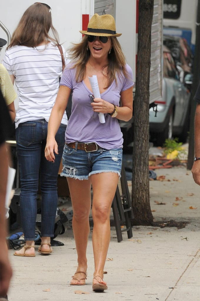 Jennifer Aniston headed to the NYC set on July 23.