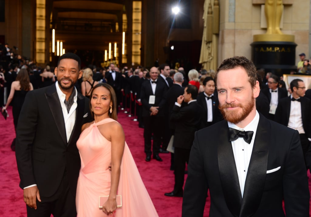 Will Smith, Jada Pinkett Smith, and Michael Fassbender at the 2014 Oscars.