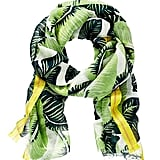 Work this leaf-print scarf by Juicy Couture ($58) with a green striped tee and denim for the perfect print-on-print pairing.