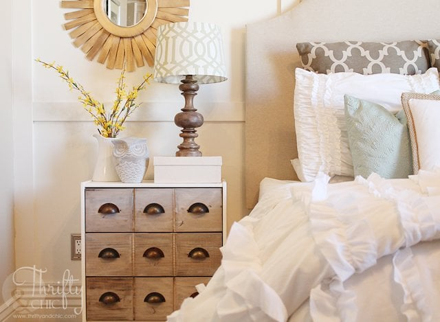 Leave it to Thrifty & Chic blogger Alicia to transform Ikea's Rast chest into a vintage-inspired apothecary cabinet. If you're looking for a way to add more storage to your bedroom, replace your small nightstands with Ikea's three-drawer Rast cabinets, but not without a little makeover first! Source: Thrifty & Chic